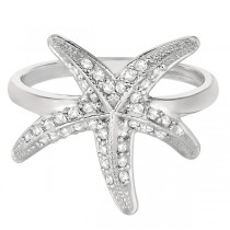 Diamond Starfish Ring 14k White Gold (0.34ct)