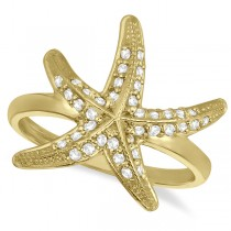 Diamond Starfish Ring 14k Yellow Gold (0.34ct)