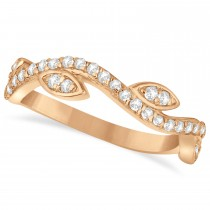 Diamond Marquise Shape Vine Leaf Ring Band 14k Rose Gold (0.36ct)