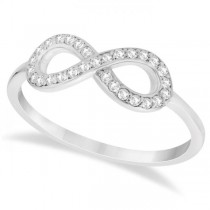 Twisted Diamond Infinity Ring Pave Set in 14k White Gold (0.15ct)