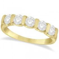 Bar-Set Five Stone Diamond Ring Anniversary Band 14k Yellow Gold 1.00ct