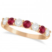 Diamond & Ruby 7 Stone Wedding Band 14k Rose Gold (1.00ct)