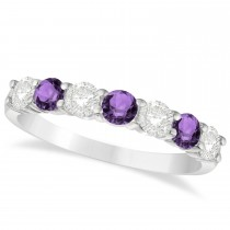 Diamond & Amethyst 7 Stone Wedding Band 14k White Gold (1.00ct)