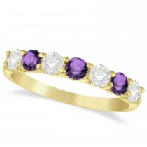 Diamond & Amethyst 7 Stone Wedding Band 14k Yellow Gold (1.00ct)