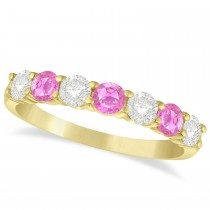 Diamond & Pink Sapphire 7 Stone Wedding Band 14k Yellow Gold (1.00ct)