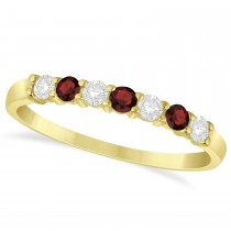 Diamond & Garnet 7 Stone Wedding Band 14k Yellow Gold (0.34ct)