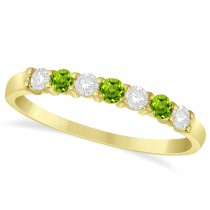 Diamond & Peridot 7 Stone Wedding Band 14k Yellow Gold (0.34ct)