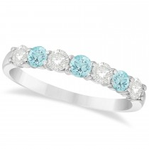 Diamond & Aquamarine 7 Stone Wedding Band 14k White Gold (0.75ct)