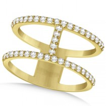 Double Open Circle Abstract Diamond Ring Band 14k Yellow Gold 0.45ct