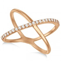 X Shaped Ring with One Row of Pave Set Diamonds 14k Rose Gold 0.25ct