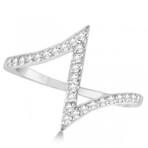 Unique Z Shaped Diamond RIng Abstract Design 14k White Gold 0.27ct