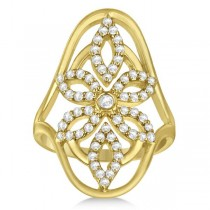 Vintage Style Abstract Diamond Ring Pave Set in 14k Yellow Gold 0.58ct