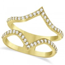 Double V Abstract Diamond Ring Pave Set 14k Yellow Gold 0.41ct