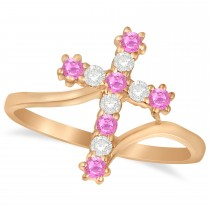 Diamond & Pink Sapphire Religious Cross Twisted Ring 14k Rose Gold (0.33ct)