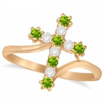 Diamond & Peridot Religious Cross Twisted Ring 14k Rose Gold (0.33ct)