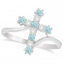 Diamond & Aquamarine Religious Cross Twisted Ring 14k White Gold (0.33ct)