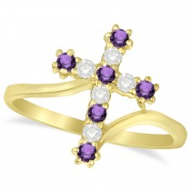 Diamond & Amethyst Religious Cross Twisted Ring 14k Yellow Gold (0.33ct)