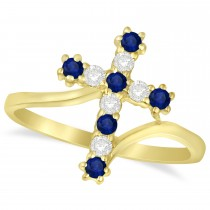 Diamond & Blue Sapphire Religious Cross Twisted Ring 14k Yellow Gold (0.33ct)