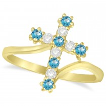 Diamond & Blue Topaz Religious Cross Twisted Ring 14k Yellow Gold (0.33ct)