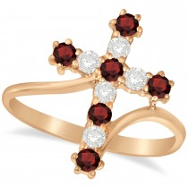 Diamond & Garnet Religious Cross Twisted Ring 14k Rose Gold (0.51ct)