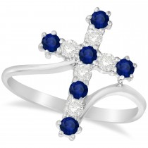 Diamond & Blue Sapphire Religious Cross Twisted Ring 14k White Gold (0.51ct)