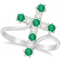 Diamond & Emerald Religious Cross Twisted Ring 14k White Gold (0.51ct)