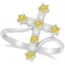 White & Yellow Diamond Religious Cross Twisted Ring 14k White Gold (0.51ct)