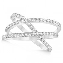 Three Band Intertwined Abstract Diamond Ring 14k White Gold 0.65ct