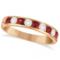 Channel Set Ruby & Diamond Ring Band in 14k Rose Gold 0.79ctw