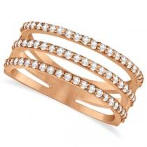 Three Band Diamond Ring Pave Set 14k Rose Gold 0.60ct