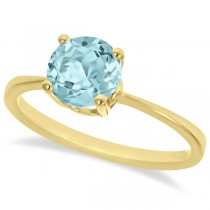 Round Cut Art Deco Aquamarine Cocktail Ring in 14k Yellow Gold (1.25ct)