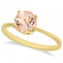 Round Cut Art Deco Morganite Cocktail Ring in 14k Yellow Gold (1.25ct)