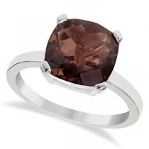 Cushion Solitaire Smoky Quartz Ring Sterling Silver (3.70ct)
