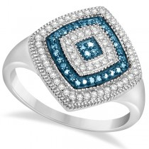 Modern White and Blue Diamond Fashion Ring Sterling Silver (0.25 ct)