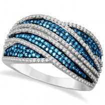 White and Blue Diamond Interknit Wide Ring Sterling Silver (0.75ct)
