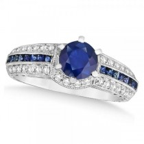 Blue Sapphire and Diamond Engagement ring in 14k White Gold (1.60ct)