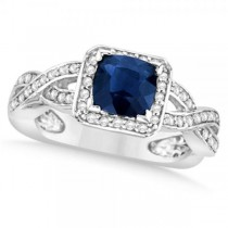 Diamond & Blue Sapphire Twisted Engagement Ring 14k White Gold (1.49ct)