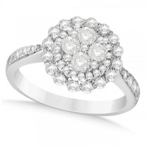Diamond Accented Clusters Fashion Ring in 18k White Gold (1.06)