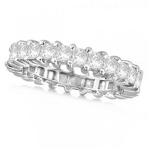 Diamond Accented Princess Cut Eternity Band in 14k White Gold (2.25ct)