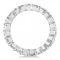 Diamond Accented Princess Cut Eternity Band in 14k White Gold (3.50ct)