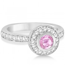 Enhanced Pink Diamond Engagement Ring Bezel Halo 14K White Gold 1.00ct