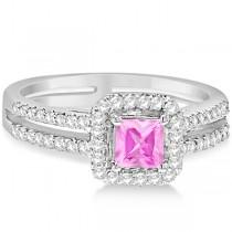 Enhanced Pink Diamond Engagement Ring Split Shank 18K W. Gold 0.94ct