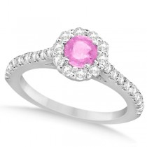 Enhanced Pink Diamond Engagement Ring Pave Halo 14k White Gold 1.01ctw