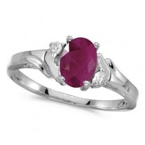 Oval Ruby and Diamond Ring in 14K White Gold (0.95ct)