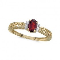 Oval Ruby & Diamond Filigree Antique Style Ring 14k Yellow Gold