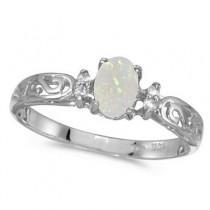 Opal and Diamond Filagree Ring Antique Style 14k White Gold