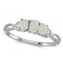 Oval Opal and Diamond Three Stone Ring 14k White Gold (0.65ctw)