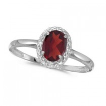 Garnet and Diamond Cocktail Ring in 14K White Gold (0.95ct)