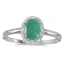 Emerald and Diamond Cocktail Ring in 14K White Gold (0.75ct)