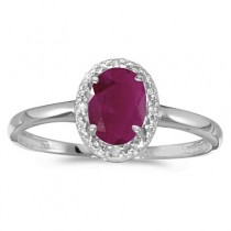 Ruby and Diamond Cocktail Ring in 14K White Gold (0.95ct)